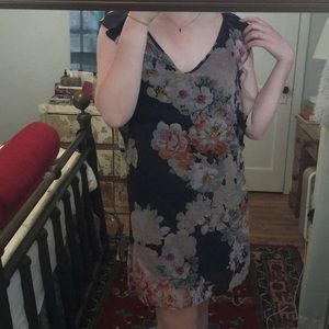 Floral Dress with Shoulder Ruffle
